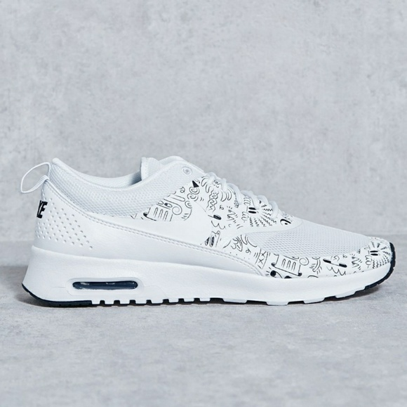 on sale 3c79d 780a6 Nike Air Max Thea white   black doodles sneakers. M 5c5c95506a0bb76f3c3e5287